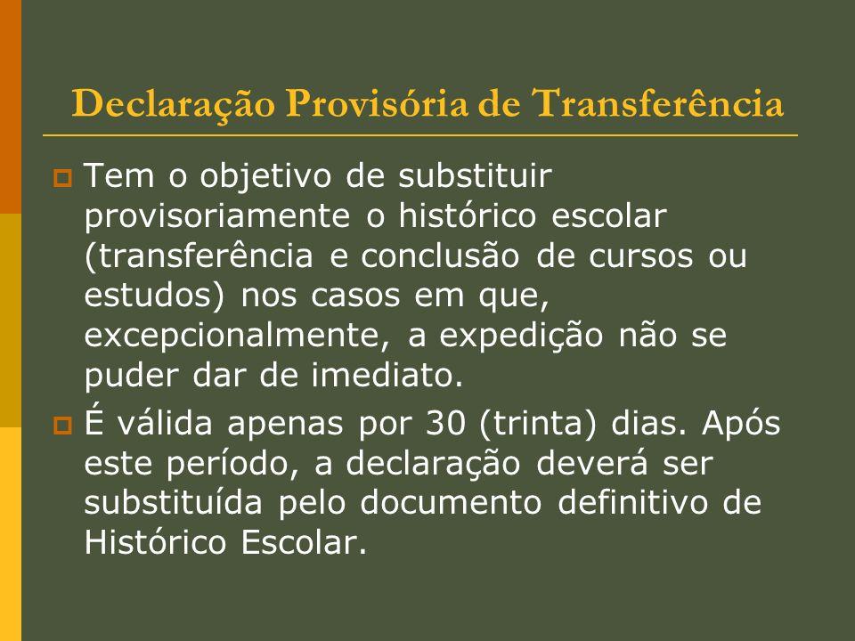 Declaração Provisória de Transferência