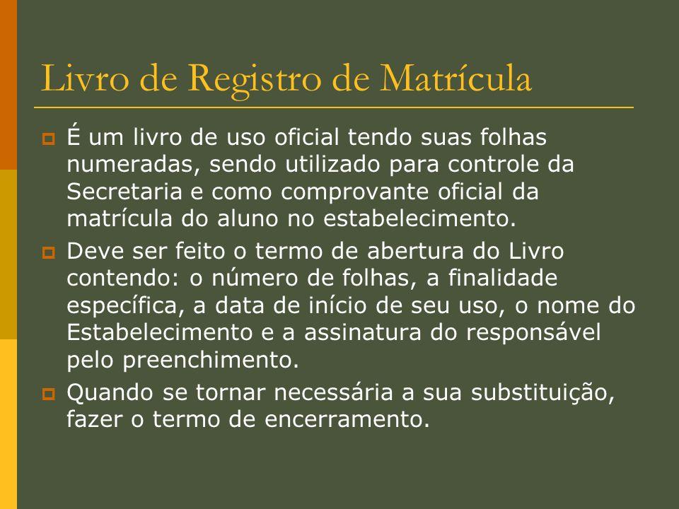 Livro de Registro de Matrícula