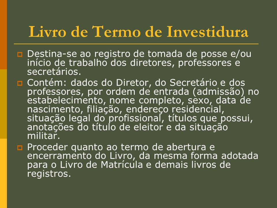 Livro de Termo de Investidura