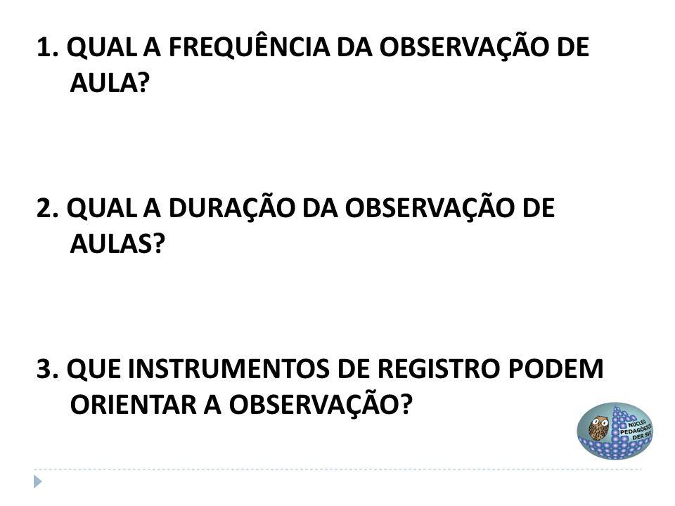 1. QUAL A FREQUÊNCIA DA OBSERVAÇÃO DE AULA