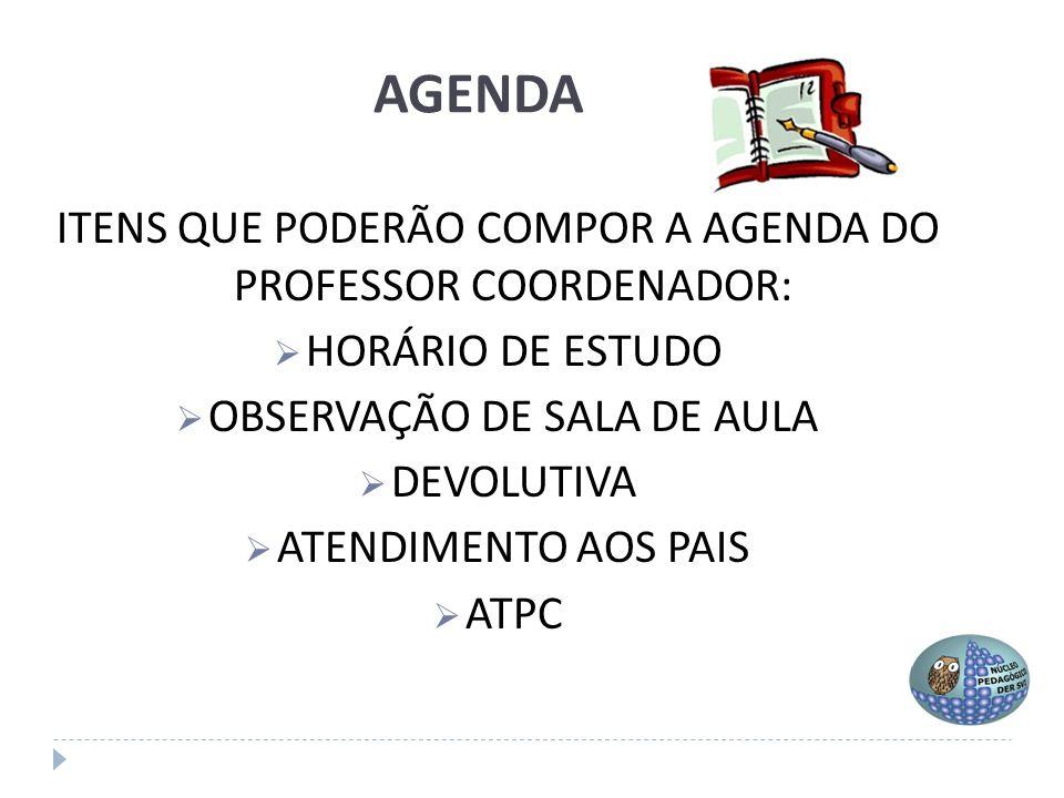 AGENDA ITENS QUE PODERÃO COMPOR A AGENDA DO PROFESSOR COORDENADOR: