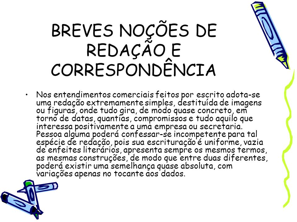 BREVES NOÇÕES DE REDAÇÃO E CORRESPONDÊNCIA