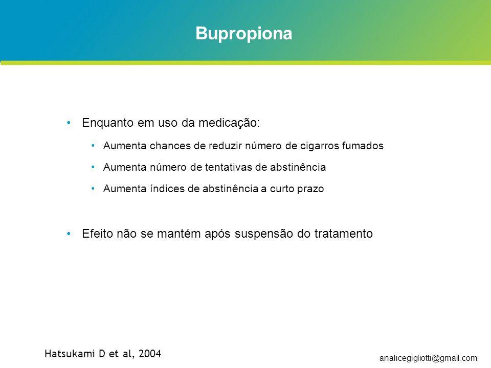 Bupropiona Enquanto em uso da medicação: