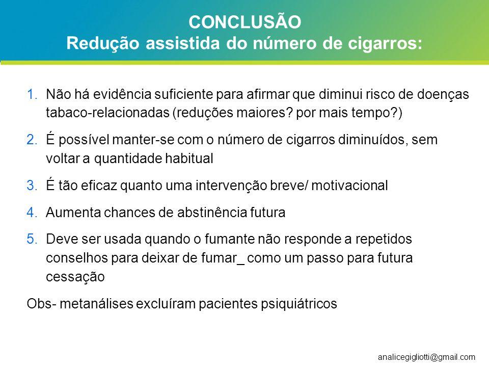 CONCLUSÃO Redução assistida do número de cigarros: