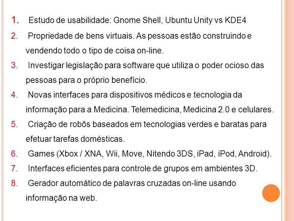 Estudo de usabilidade: Gnome Shell, Ubuntu Unity vs KDE4