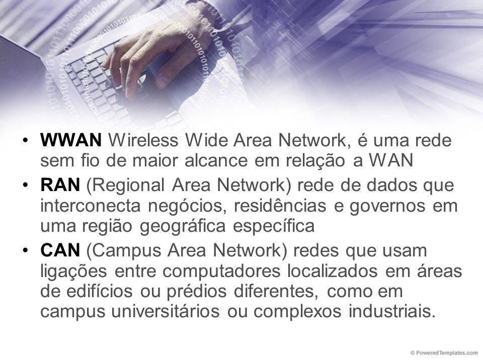 WWAN Wireless Wide Area Network, é uma rede sem fio de maior alcance em relação a WAN