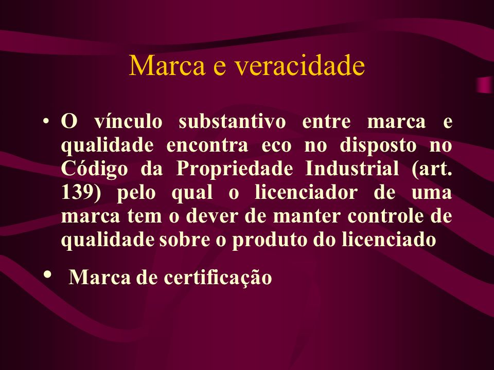 Marca e veracidade Marca de certificação