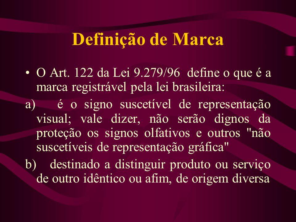 Definição de Marca O Art. 122 da Lei 9.279/96 define o que é a marca registrável pela lei brasileira: