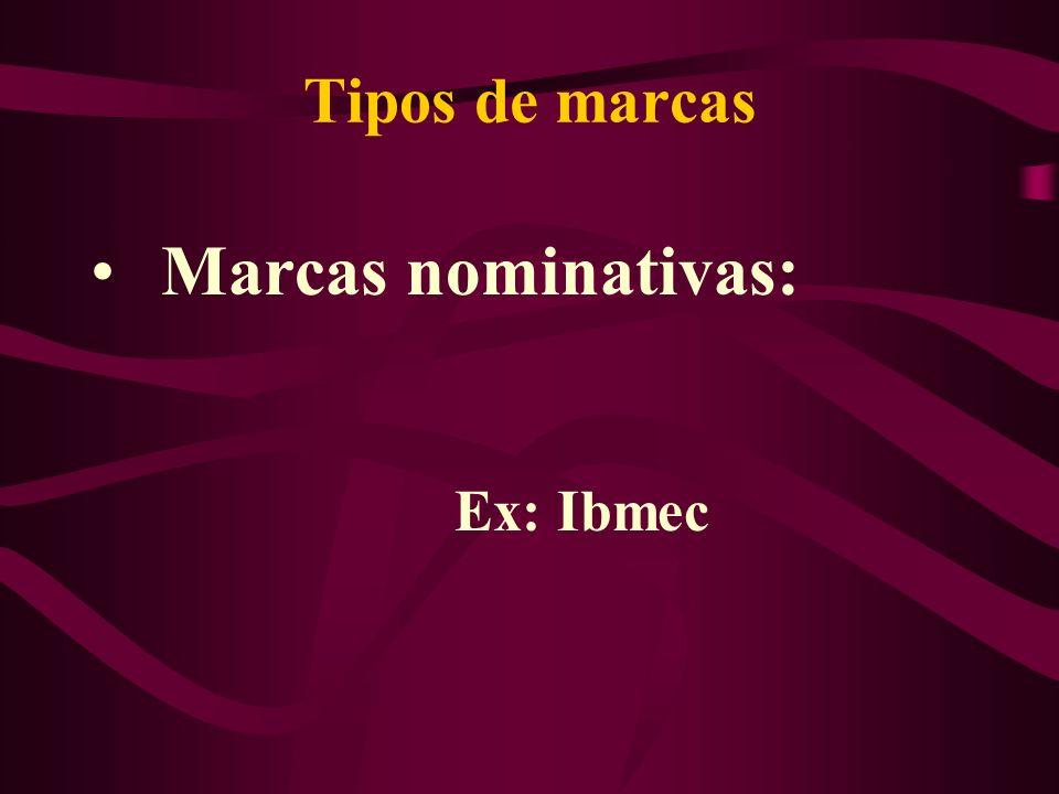 Tipos de marcas Marcas nominativas: Ex: Ibmec