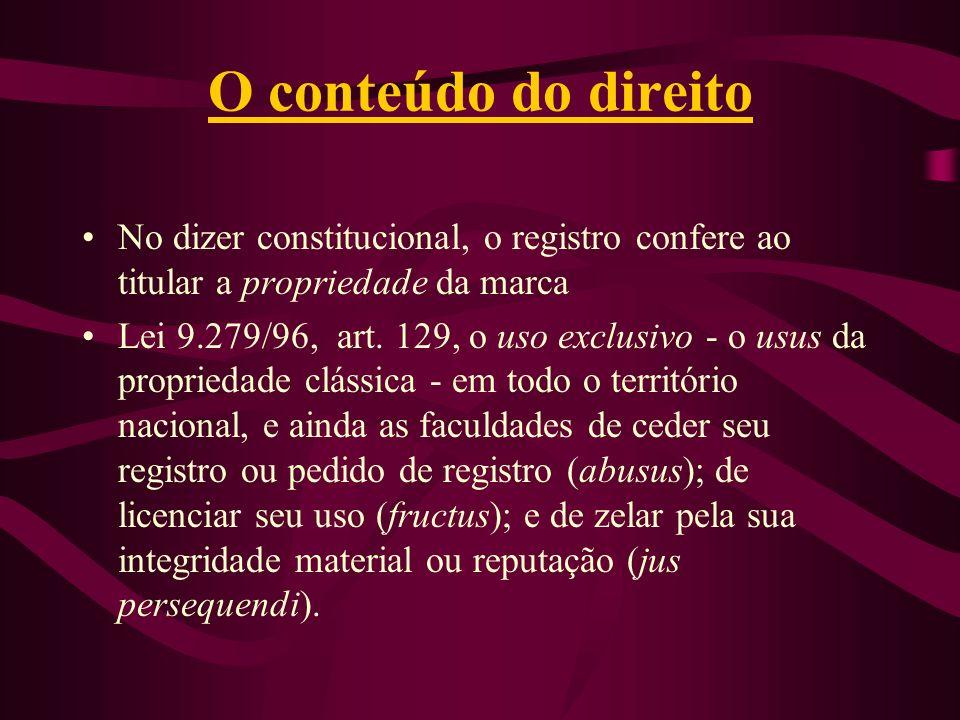 O conteúdo do direito No dizer constitucional, o registro confere ao titular a propriedade da marca.