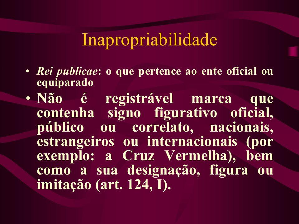 Inapropriabilidade Rei publicae: o que pertence ao ente oficial ou equiparado.