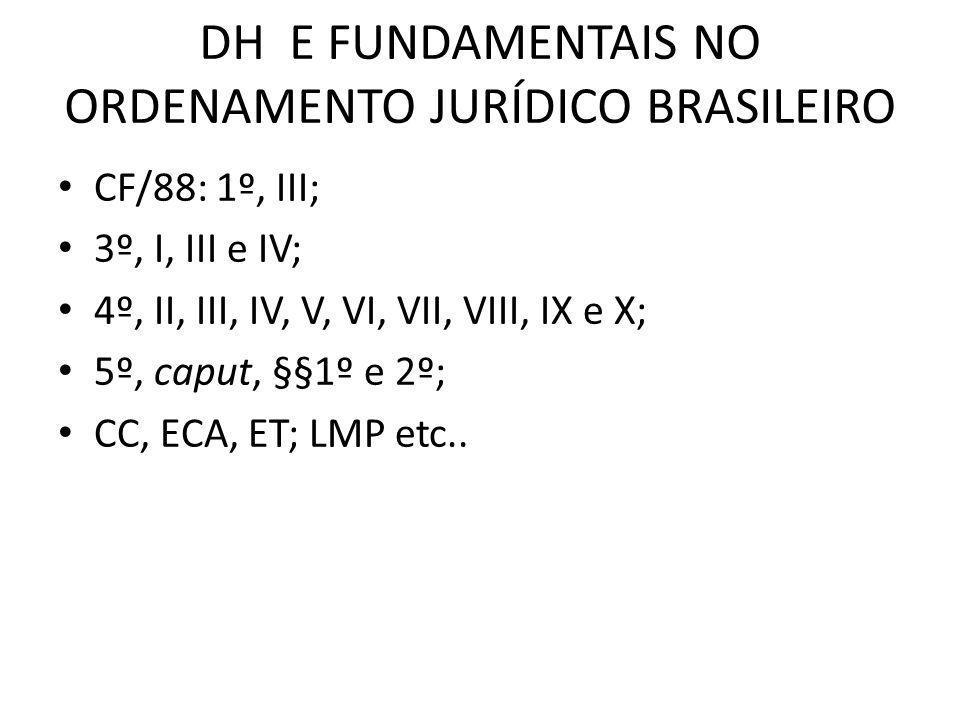 DH E FUNDAMENTAIS NO ORDENAMENTO JURÍDICO BRASILEIRO