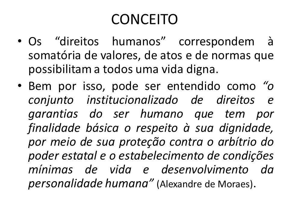 CONCEITO Os direitos humanos correspondem à somatória de valores, de atos e de normas que possibilitam a todos uma vida digna.