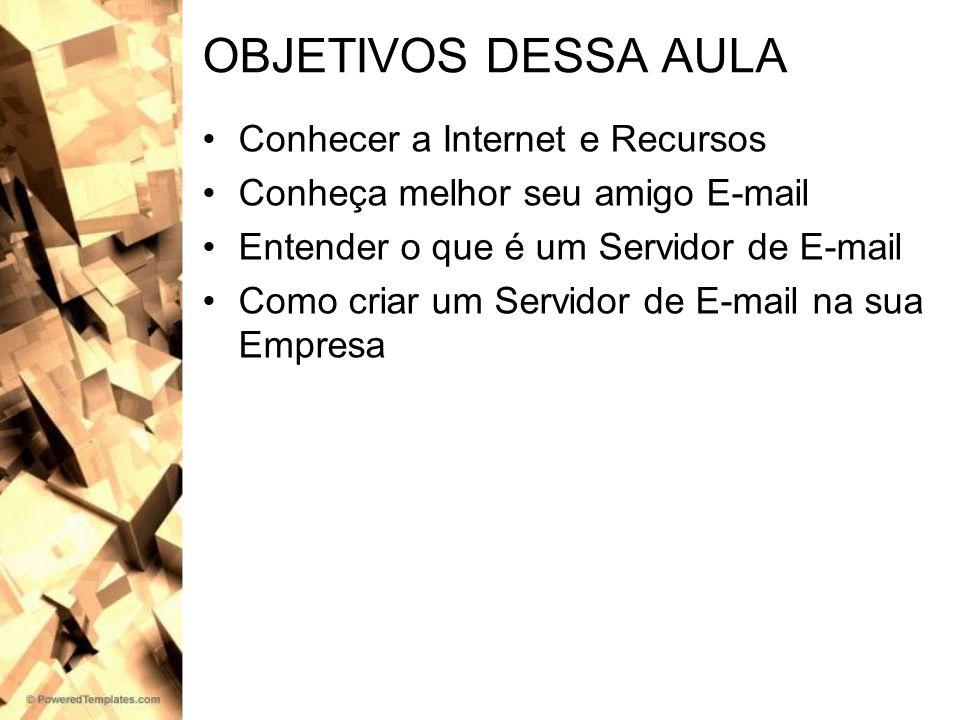 OBJETIVOS DESSA AULA Conhecer a Internet e Recursos