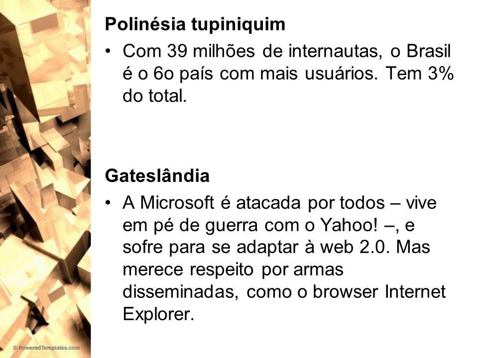 Polinésia tupiniquim Com 39 milhões de internautas, o Brasil é o 6o país com mais usuários. Tem 3% do total.