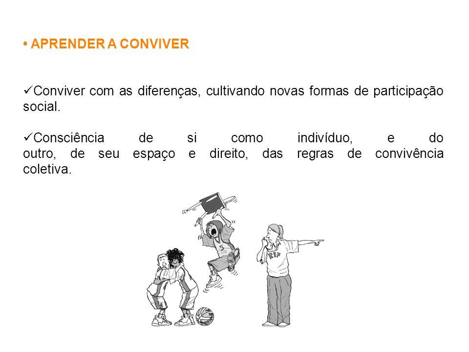 • APRENDER A CONVIVER Conviver com as diferenças, cultivando novas formas de participação social.