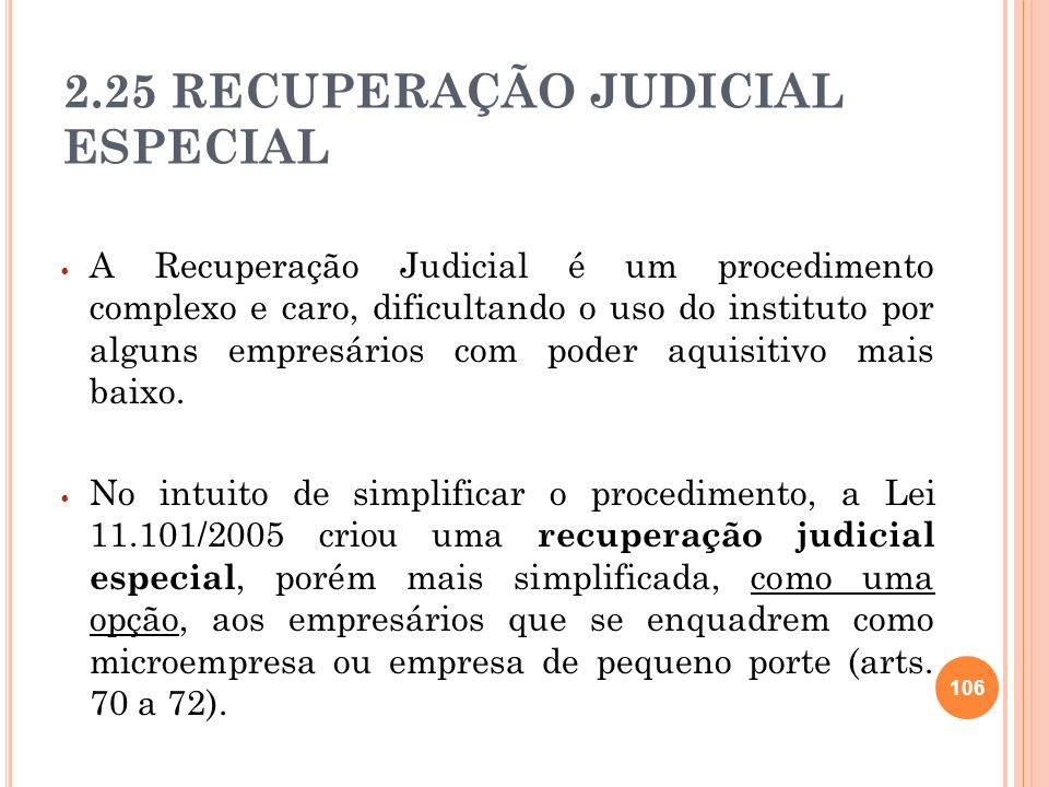 2.25 RECUPERAÇÃO JUDICIAL ESPECIAL