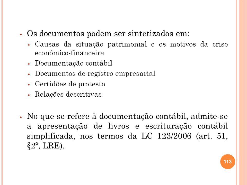 Os documentos podem ser sintetizados em: