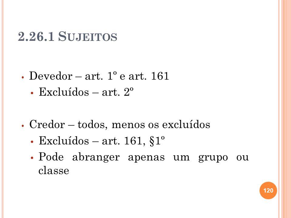 2.26.1 Sujeitos Devedor – art. 1º e art. 161 Excluídos – art. 2º