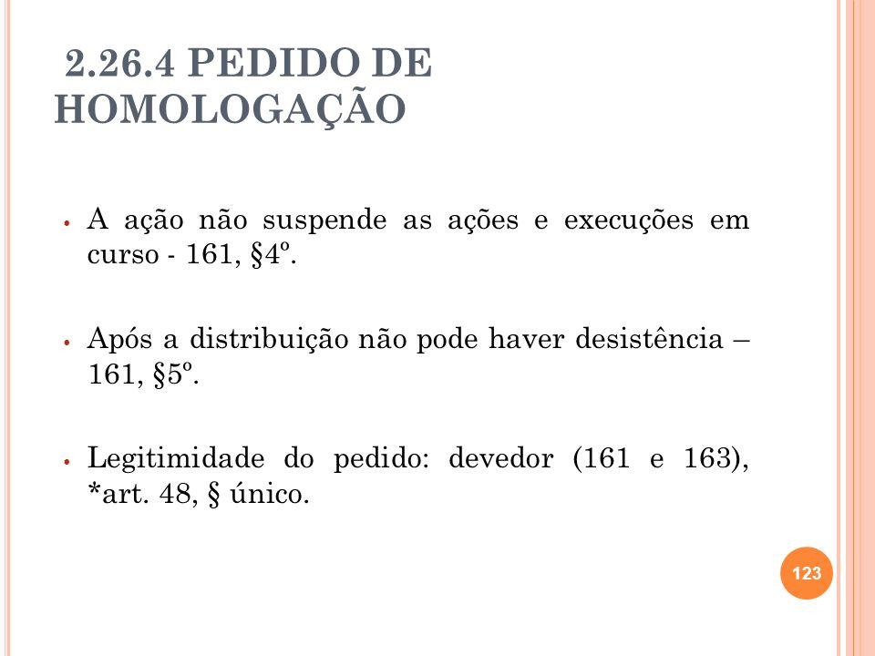 2.26.4 PEDIDO DE HOMOLOGAÇÃO A ação não suspende as ações e execuções em curso - 161, §4º.