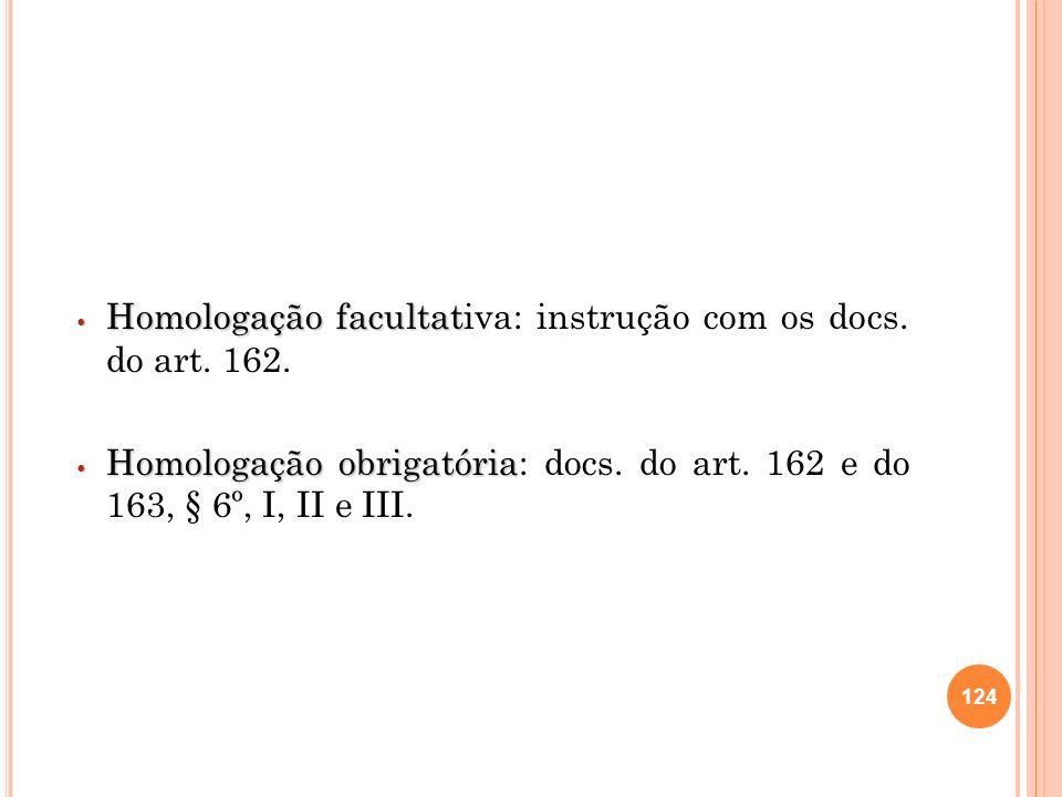 Homologação facultativa: instrução com os docs. do art. 162.