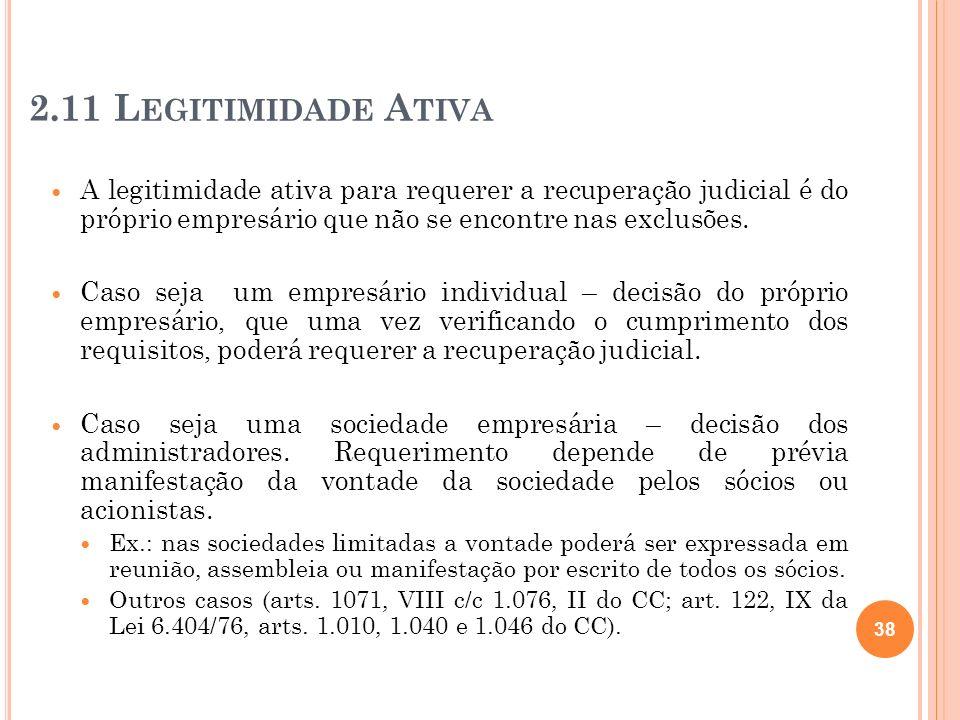 2.11 Legitimidade Ativa A legitimidade ativa para requerer a recuperação judicial é do próprio empresário que não se encontre nas exclusões.