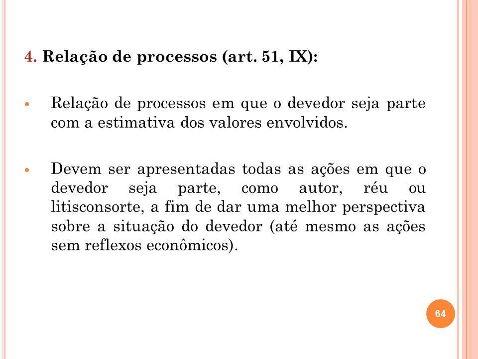 4. Relação de processos (art. 51, IX):