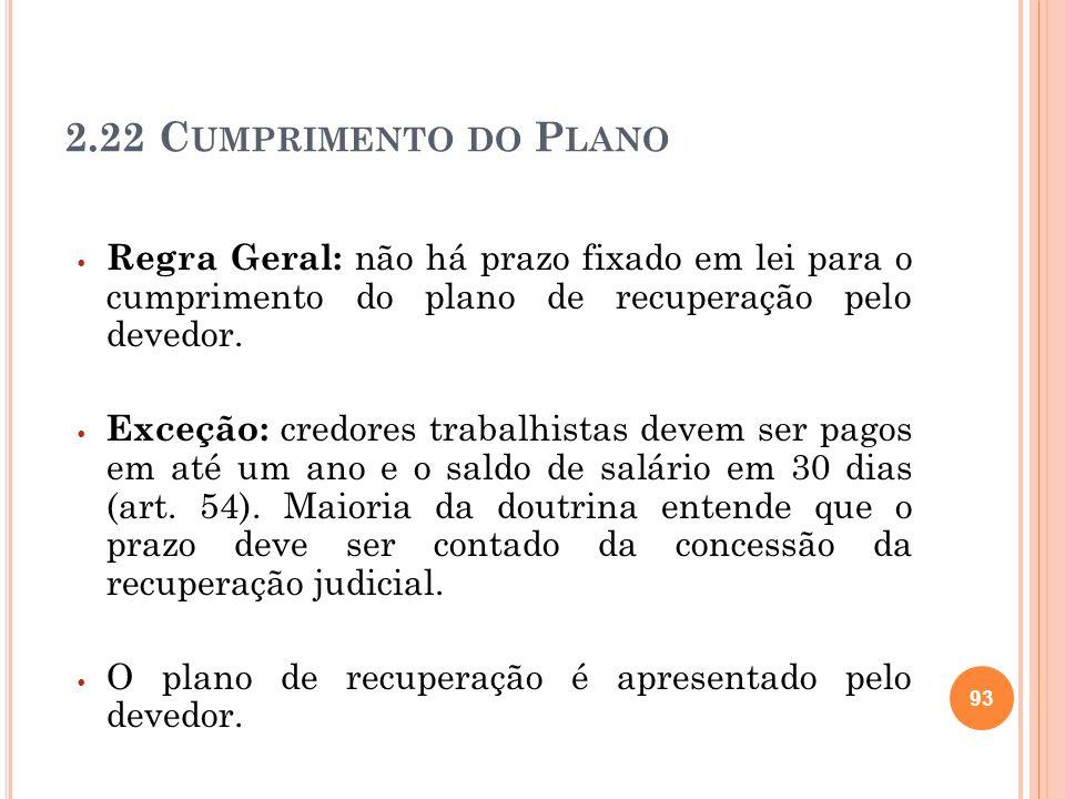 2.22 Cumprimento do Plano Regra Geral: não há prazo fixado em lei para o cumprimento do plano de recuperação pelo devedor.