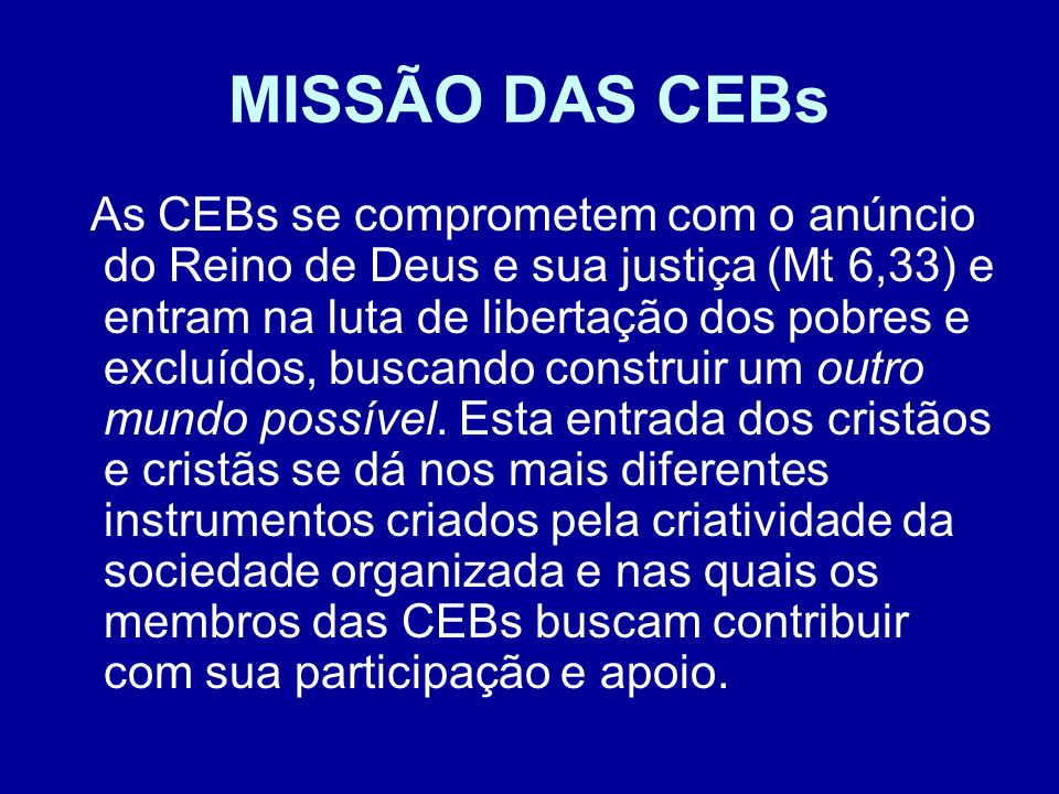 MISSÃO DAS CEBs