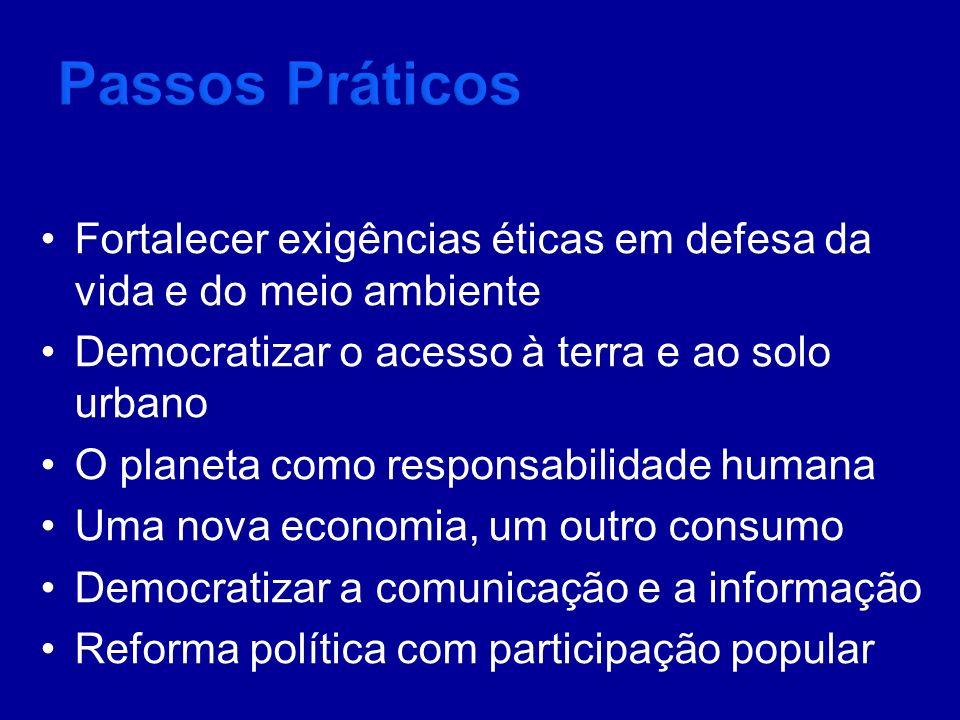 Passos Práticos Fortalecer exigências éticas em defesa da vida e do meio ambiente. Democratizar o acesso à terra e ao solo urbano.