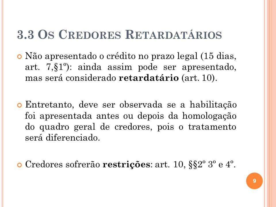 3.3 Os Credores Retardatários