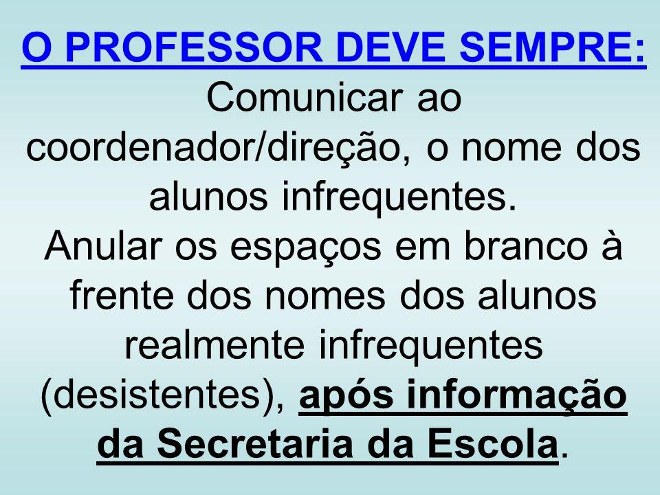 O PROFESSOR DEVE SEMPRE: