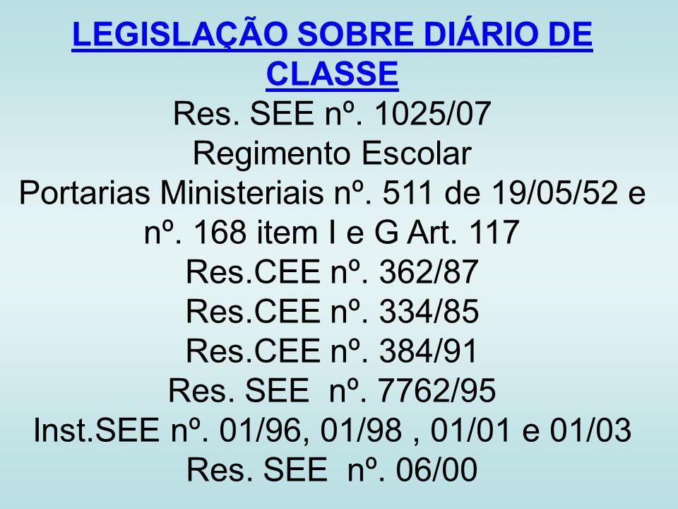 LEGISLAÇÃO SOBRE DIÁRIO DE CLASSE