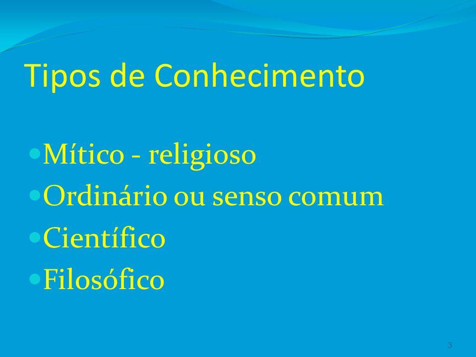 Tipos de Conhecimento Mítico - religioso Ordinário ou senso comum