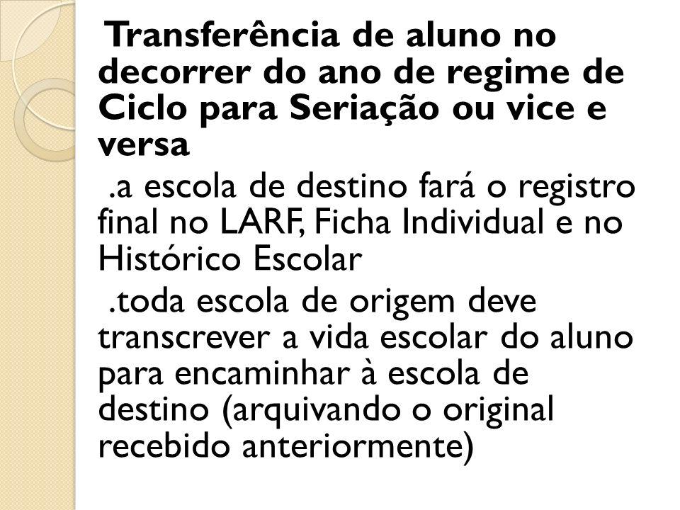 Transferência de aluno no decorrer do ano de regime de Ciclo para Seriação ou vice e versa