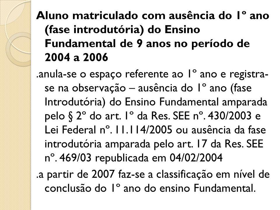 Aluno matriculado com ausência do 1º ano (fase introdutória) do Ensino Fundamental de 9 anos no período de 2004 a 2006