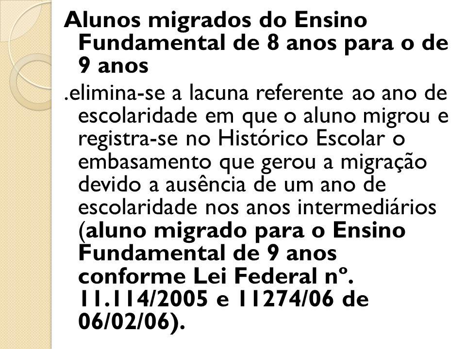 Alunos migrados do Ensino Fundamental de 8 anos para o de 9 anos