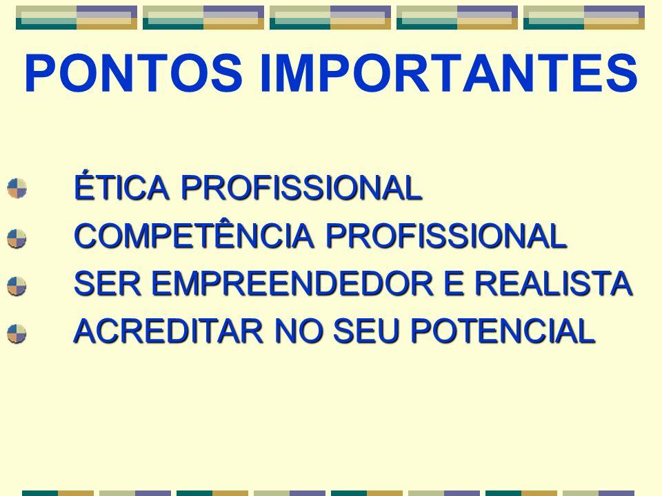 PONTOS IMPORTANTES ÉTICA PROFISSIONAL COMPETÊNCIA PROFISSIONAL