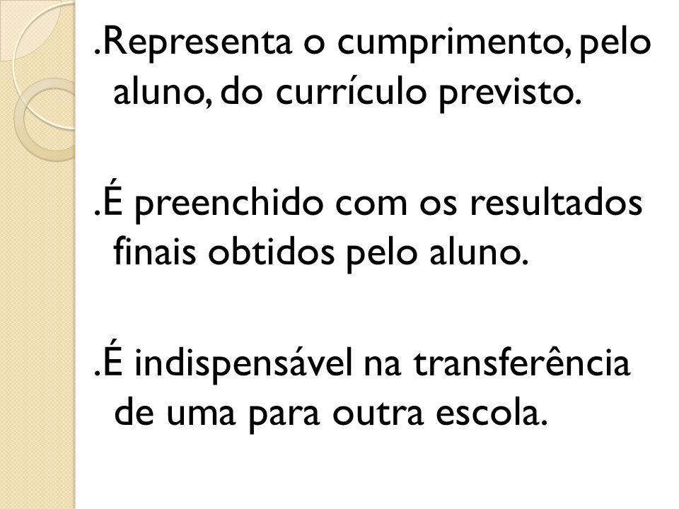 .Representa o cumprimento, pelo aluno, do currículo previsto.