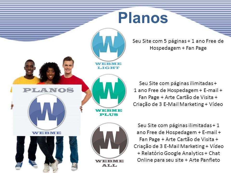 Planos Seu Site com 5 páginas + 1 ano Free de Hospedagem + Fan Page