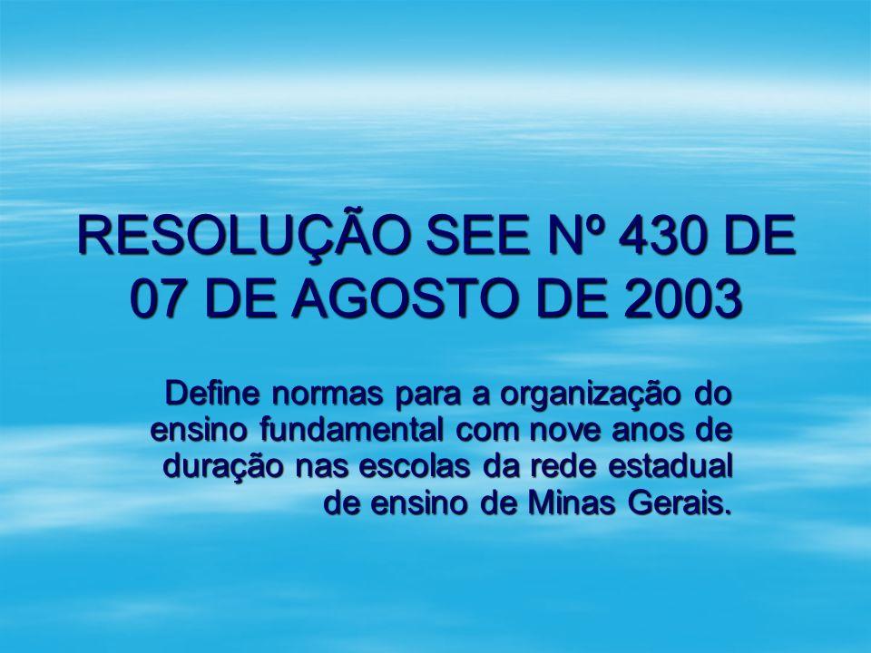 RESOLUÇÃO SEE Nº 430 DE 07 DE AGOSTO DE 2003