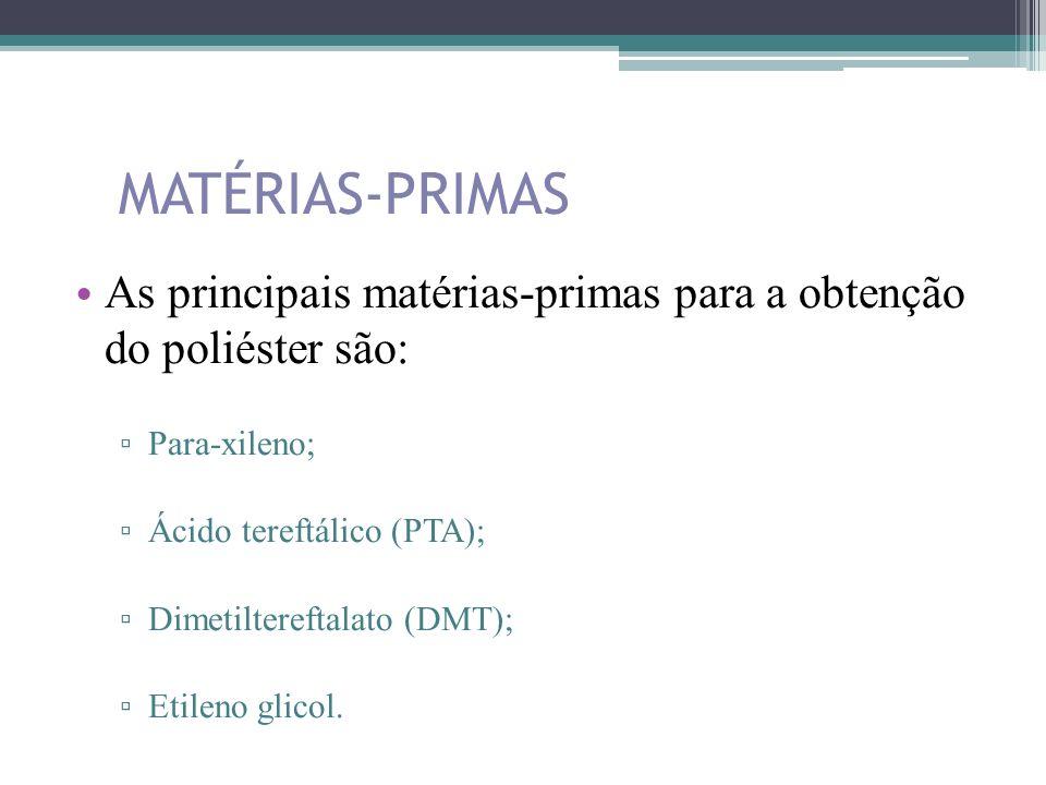 MATÉRIAS-PRIMAS As principais matérias-primas para a obtenção do poliéster são: Para-xileno; Ácido tereftálico (PTA);