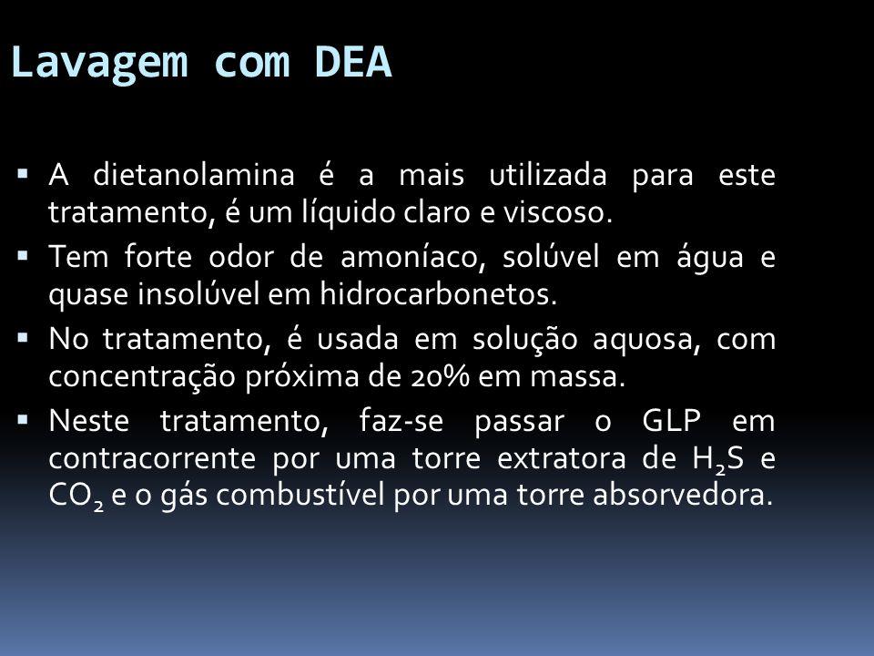 Lavagem com DEA A dietanolamina é a mais utilizada para este tratamento, é um líquido claro e viscoso.