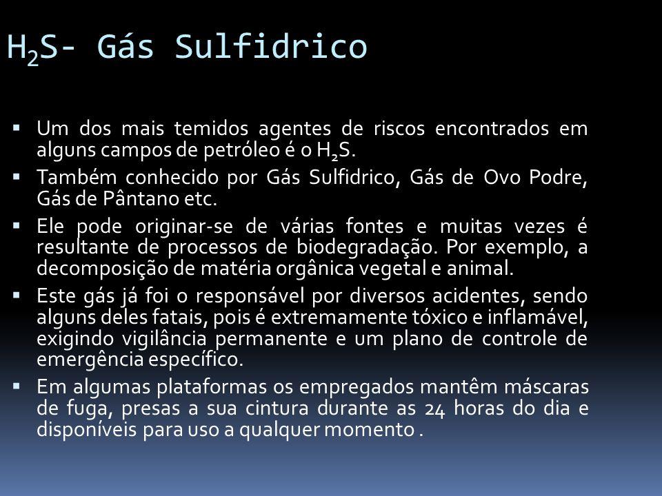 H2S- Gás Sulfidrico Um dos mais temidos agentes de riscos encontrados em alguns campos de petróleo é o H2S.