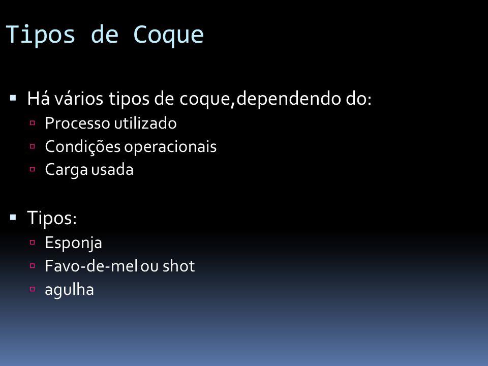 Tipos de Coque Há vários tipos de coque,dependendo do: Tipos: