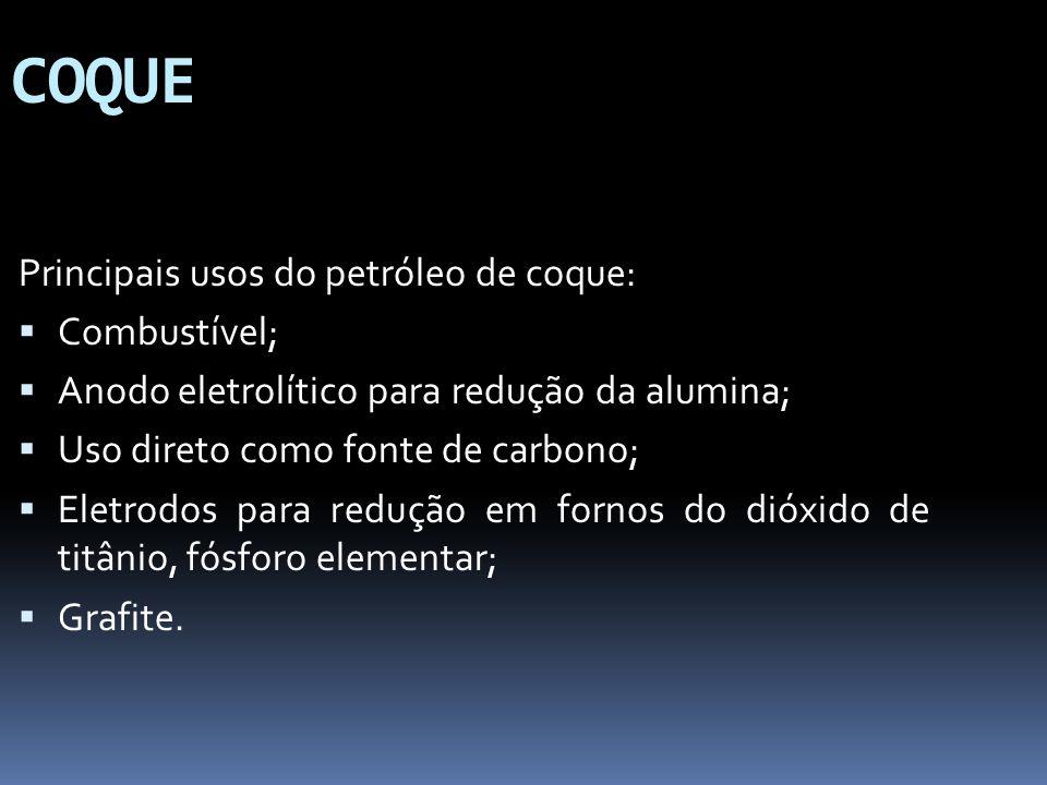 COQUE Principais usos do petróleo de coque: Combustível;