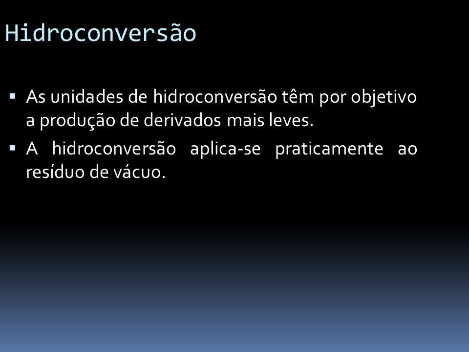 Hidroconversão As unidades de hidroconversão têm por objetivo a produção de derivados mais leves.