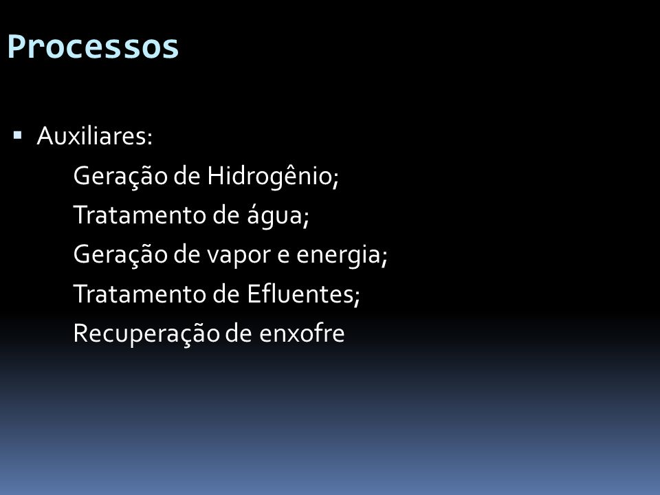 Processos Auxiliares: Geração de Hidrogênio; Tratamento de água;