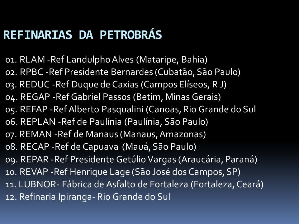 REFINARIAS DA PETROBRÁS