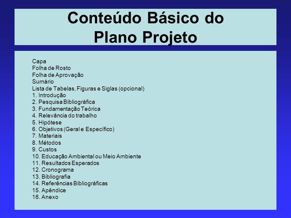 Conteúdo Básico do Plano Projeto